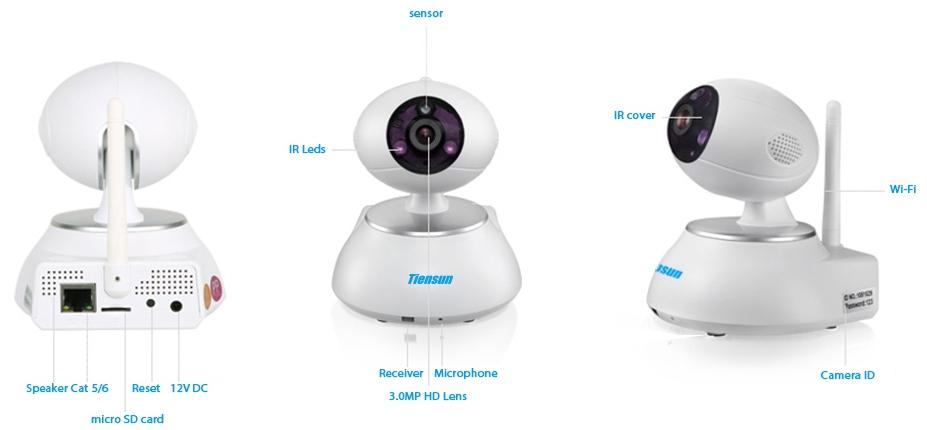 Корпусная беспроводная IP камера Tiensun TS-IPC014 1Mpx - 3